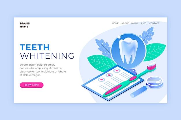 Modèle de page de destination de soins dentaires isométriques
