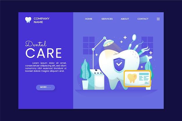 Modèle de page de destination de soins dentaires plats