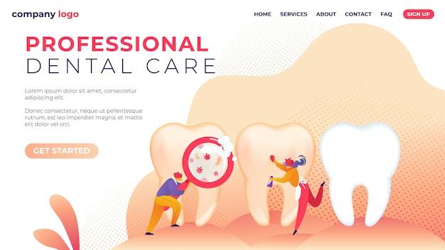 Modèle de page de destination. soins dentaires professionnels à plat.