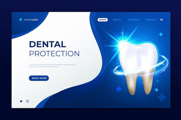 Modèle de page de destination de soins dentaires réaliste