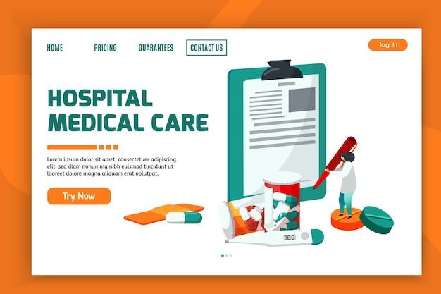Modèle de page de destination de soins médicaux hospitaliers