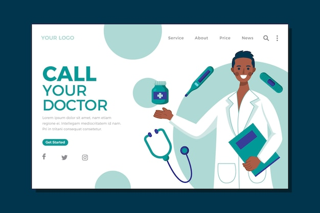 Modèle de page de destination de soins de santé de conception plate