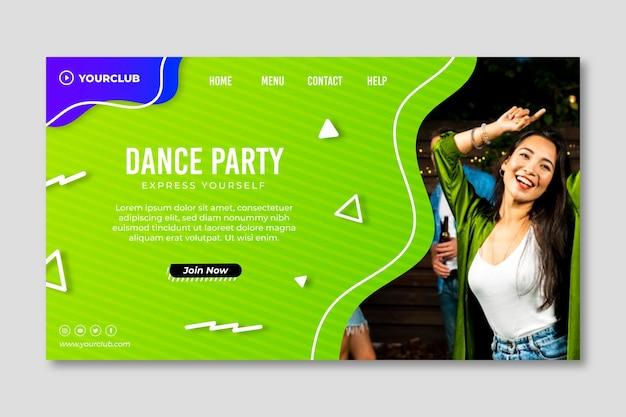 Modèle de page de destination de soirée dansante