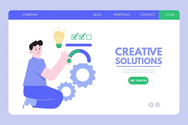 Modèle de page de destination de solutions créatives design plat