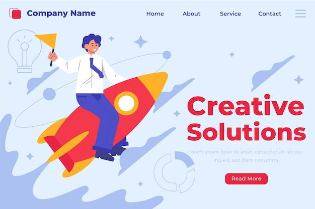 Modèle de page de destination de solutions créatives organiques