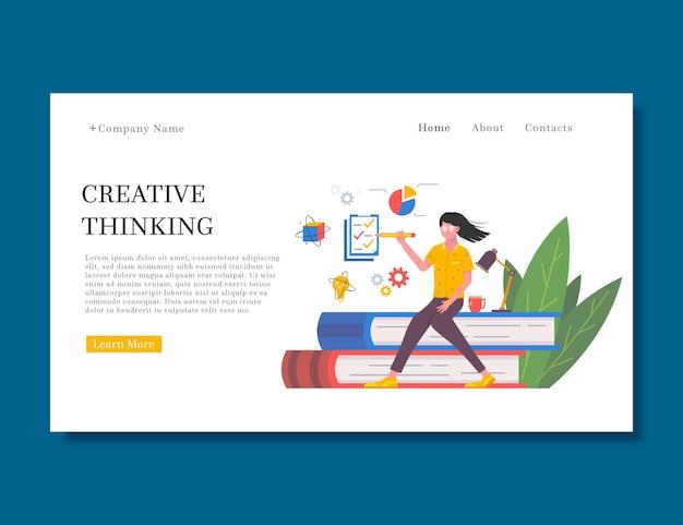 Modèle de page de destination de solutions créatives plates organiques