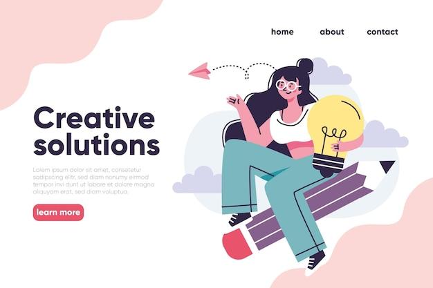 Modèle de page de destination de solutions créatives