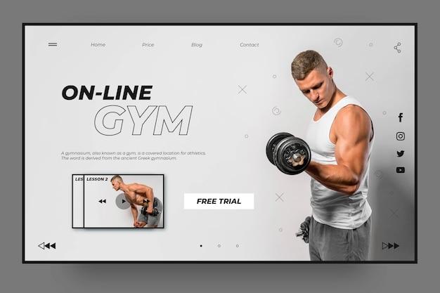 Modèle de page de destination de sport de gym en ligne