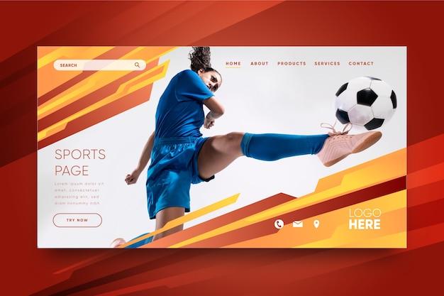 Modèle de page de destination sportive avec image