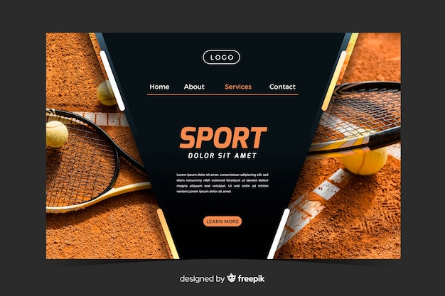 Modèle de page de destination sportive avec photo