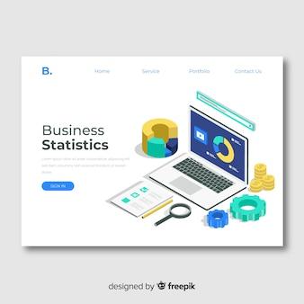 Modèle de page de destination de statistiques commerciales
