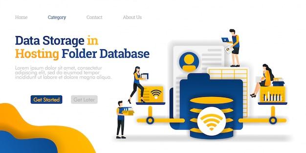 Modèle de page de destination. stockage des données dans le dossier de la base de données d'hébergement. ouvrir et modifier divers fichiers du dossier d'hébergement
