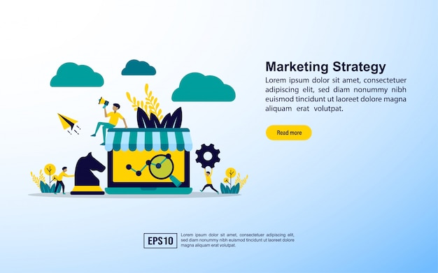 Modèle de page de destination. stratégie de marketing