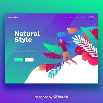 Modèle de page de destination de style naturel