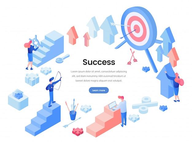Modèle de page de destination de succès commercial