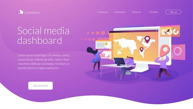 Modèle de page de destination de tableau de bord de médias sociaux