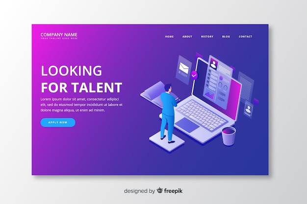 Modèle de page de destination de talent isométrique