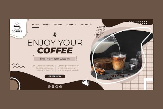 Modèle de page de destination de tasse de café
