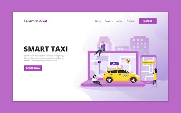 Modèle de page de destination de taxi intelligent