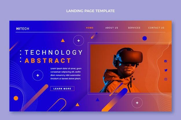 Modèle de page de destination de technologie abstraite dégradée