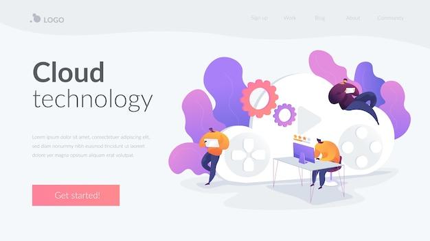 Modèle de page de destination de la technologie cloud