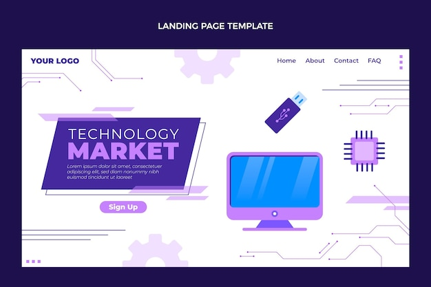 Modèle de page de destination à technologie minimale plate