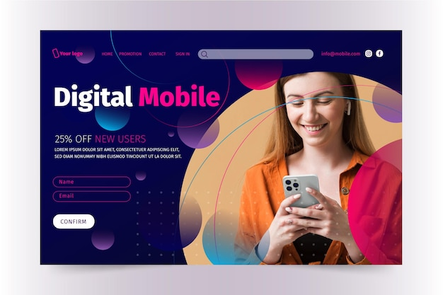 Modèle de page de destination de technologie mobile