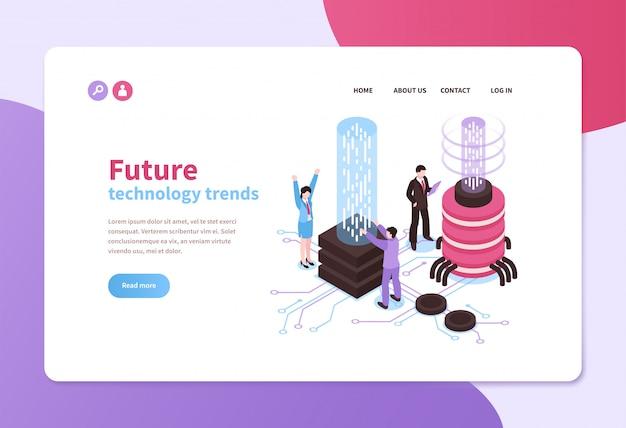 Modèle de page de destination des tendances technologiques futures