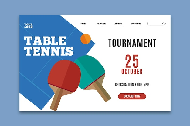 Modèle de page de destination de tennis de table
