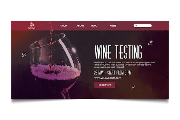 Modèle de page de destination de test de vin