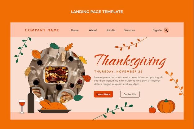 Modèle de page de destination de thanksgiving dessiné à la main