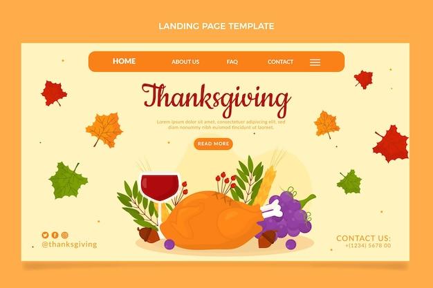 Modèle de page de destination de thanksgiving plat