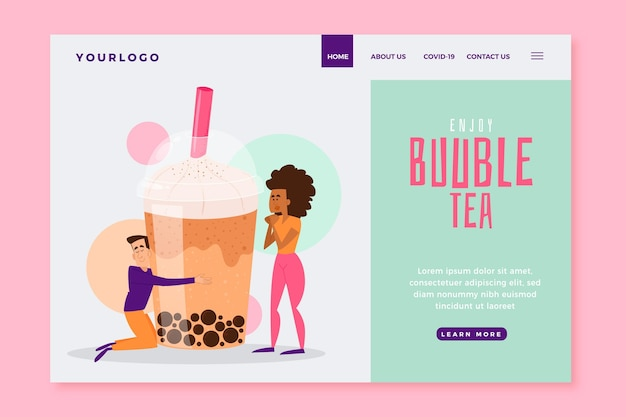 Modèle de page de destination de thé aux bulles