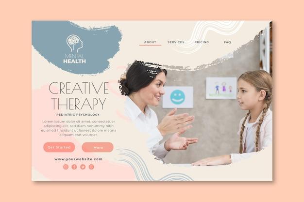 Modèle de page de destination de thérapie créative