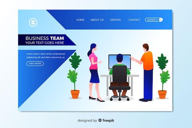 Modèle de page de destination de travail d'équipe commercial
