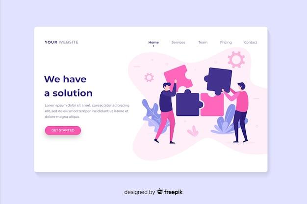 Modèle de page de destination de travail d'équipe numérique