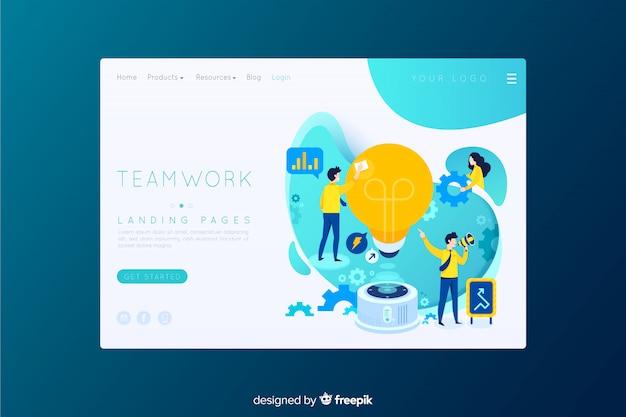 Modèle de page de destination de travail d'équipe
