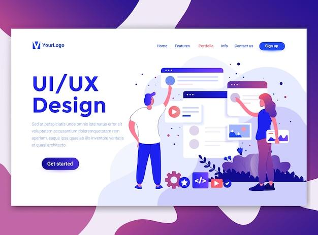 Modèle de page de destination de ui et ux design
