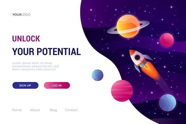 Modèle de page de destination de l'univers