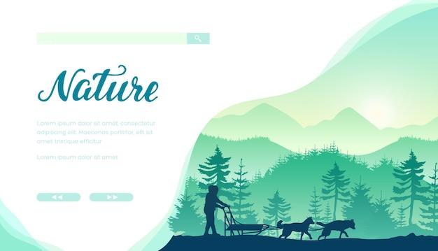 Modèle de page de destination de vecteur de course de chiens de traîneau. bannière web de service de traîneau husky avec espace de texte.