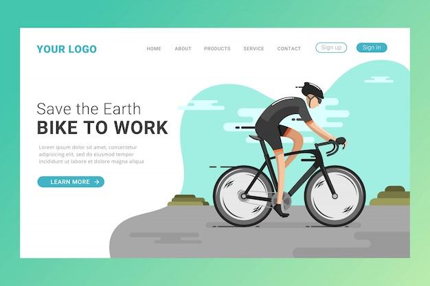 Modèle de page de destination de vélo d'équitation