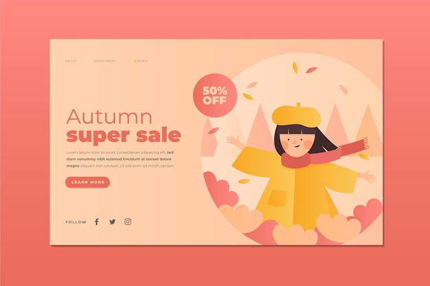 Modèle de page de destination de vente d'automne dégradé