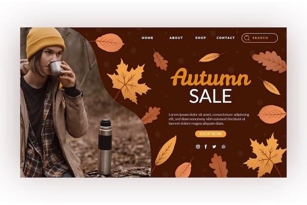 Modèle de page de destination de vente d'automne dessiné à la main avec photo