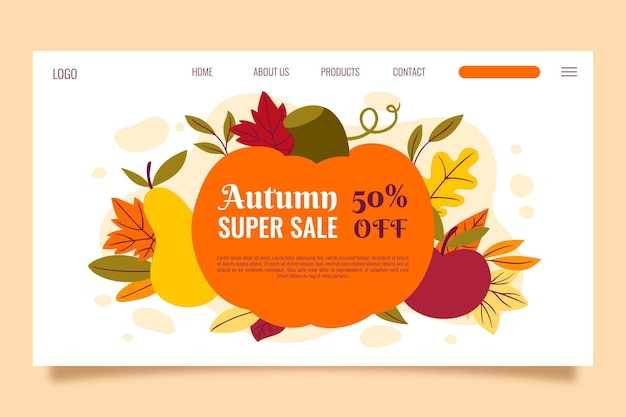 Modèle de page de destination de vente d'automne dessiné à la main