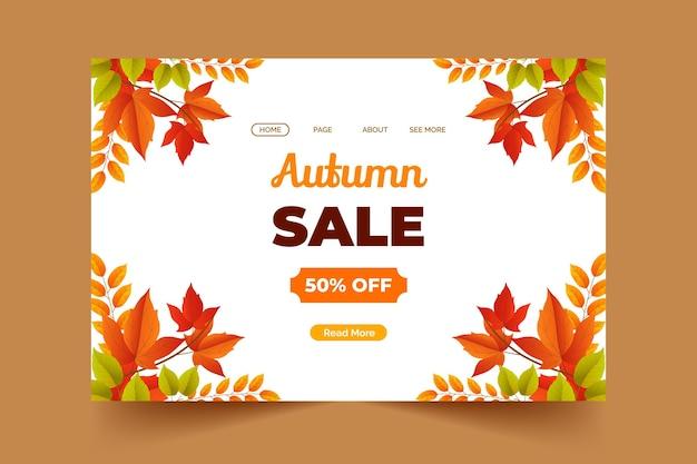 Modèle de page de destination de vente d'automne réaliste
