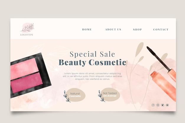Modèle de page de destination de vente de cosmétiques