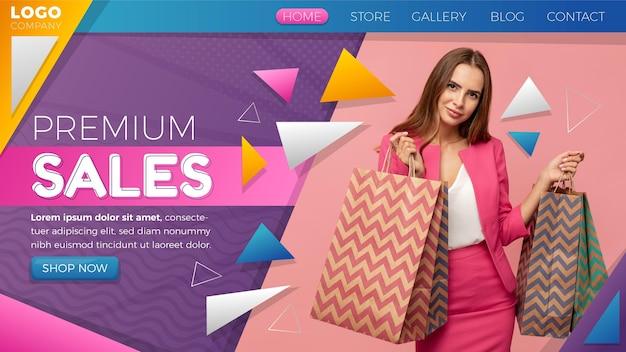 Modèle de page de destination de vente dégradée avec photo