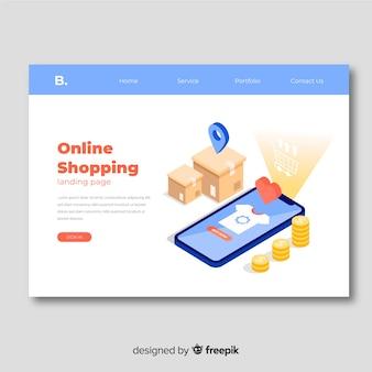 Modèle de page de destination de vente isométrique