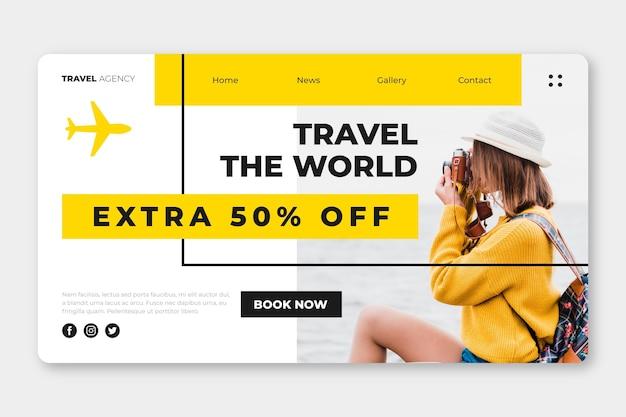 Modèle de page de destination de vente itinérante avec photo