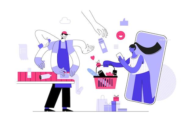 Modèle de page de destination de la vente en ligne jeune femme boutique en ligne à l'aide d'un smartphone